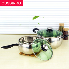 1pcs Multi Purpose Soup Pot Stainless Steel Pot with Toughened Glass Cover Kitchen Pot for Gas and Induction Cooker