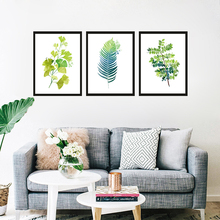 GY118 Green plants Wall painting Beautify the room Grass leaves Frameless Watercolor Print Picture Canvas Poster For home decor(China)