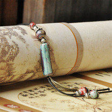 Fashion High Quality Original Ceramic Bronze Handmade Porcelain Beads Wax Rope Long Sweater Necklace For Women he122