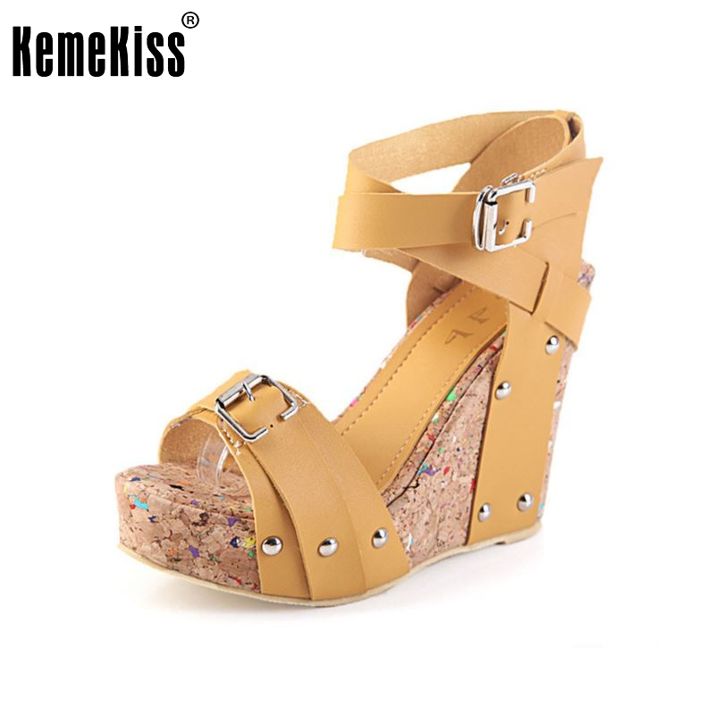 Free shipping NEW high heel wedge sandals fashion women dress sexy shoes slippers P5850 hot sale EUR size 33-40<br><br>Aliexpress
