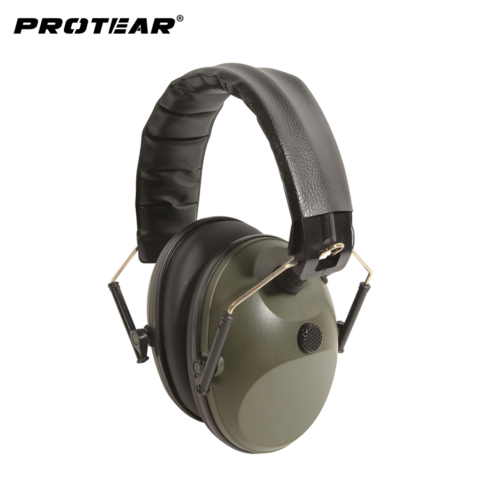 Prptear Single Microphone Electronic Hunting Earmuff Shooting Range ArmyGreen Hunting Range Gear Hearing Protection NRR 22dB<br>