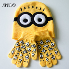 3pcs/set Baby Kids Winter Minions Gloves +Hat Set Fashion Brand New Warm Knitted Cartoon Caps Gloves Baby Boys Girls Hats GH153(China)