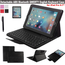 4 GIFTS New Leather Keyboard Cover For Apple iPad Pro 9.7'' Case w/ DETACHABLE English US QWERTY Wireless Bluetooth Keyboard Por