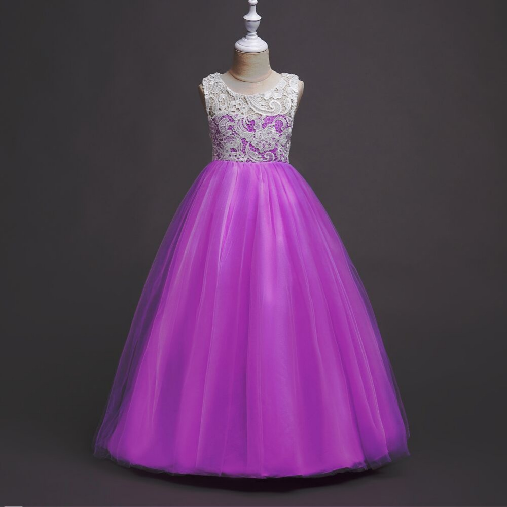 Dress for Girls Christmas Eve Prom Dresses 5-16Y Flower Girls Wedding Party Princess Lace Dresses RobeFille Formal Pageant Dress<br>