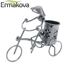 ERMAKOVA Metal Crafts Tricycle Model Retro Bike Model Statue Pencil Cup Antique Bicycle Pen Container Holder Home Office Decor(China)