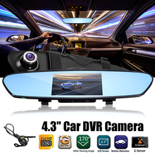 Buy 4.3 inch Dual Lens Car DVR Rearview Mirror Camera Video Recorder Dashcam Car Camcorder + Rear View Camera 170 Degree for $39.71 in AliExpress store
