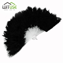 WITUSE Black large Soft feather folding hand fan for wedding Party Decoration Suppliers Elegant Dance Fan