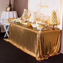Gold Sequin Tablecloth Wedding Cake Tablecloth ,90 Inch By 156 Inch Rectangle Sequins Table for Wedding Decoration 225cmX390cm