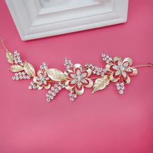 Hairband Headdress Wedding Dress Accessories Golden Head Flower Baroque Crystal Pearl Leaves(China)