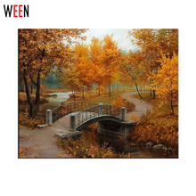 Pictures Oil Painting By Numbers DIY Digital Coloring By Numver on Canvas Maple Scenery Home Decoration 40x50cm(China)