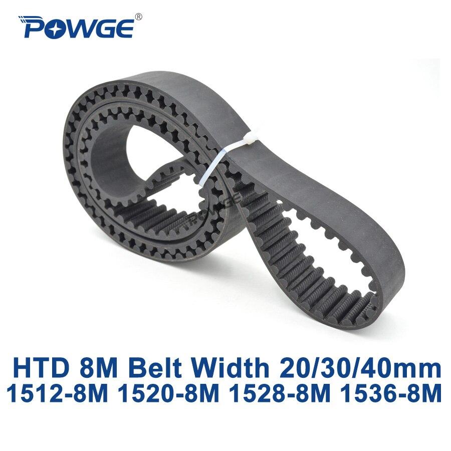 POWGE HTD 8M synchronous Timing belt C=1512/1520/1528/1536 width 20/30/40mm Teeth 189 190 191 192 HTD8M 1512-8M 1520-8M 1536-8M<br>