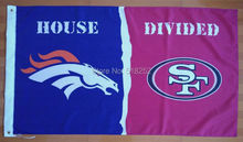 Denver Broncos 49ers House Divided Flag 3x5 FT 150X90CM NFL Banner 100D Polyester Custom flag603, free shipping(China)