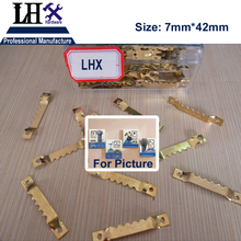 LHX PBYP68 100pcs/lot 7*42mm Golden Bar Hanging Picture oil Painting Mirror Frame Hooks Hangers With 200 Screws(China)