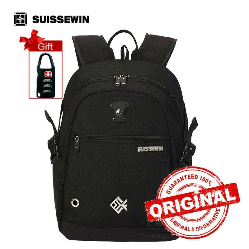 Suissewin Brand Backpack Girl Black Schoolbag Boy Students Bookbag Orthopedic School Bag Women Casual Daypack Red Gray sn7015<br>