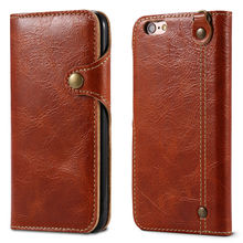 REFUNNEY Retro Button Flip Genuine Leather Wallet Case for iPhone 6 s 6s Plus Phone Cover Coque Capinha for iPhone6 6Plus Brown(China)