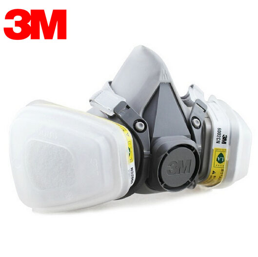 3M 6300+6002 Mask Respirator Half Facepiece NIOSH Certificated Reusable Respiratory Gas Cartridges Acid Gas Mask 1 Set LT071<br>