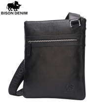 BISON DENIM Brand 100% top cowhide genuine leather Male Crossbody Bag slim shoulder bag Business Travel Ipad Bag 2424&2442(China)