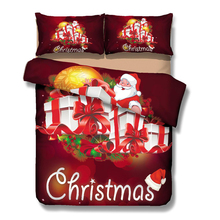 red comforter with Santa Claus,3D Christmas bedding set,bedding pillow cases with gifts,3pcs comforter set queen king twin full