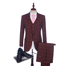 2018 New Tweed Men Suits Plaid Terno Wedding Suit 2 Buttons Groom Tuxedos Tailored Wool Suits Custom Made (Jacket+pants+vest)(China)