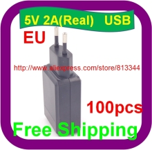 High quality IC solutions 100 PCS High quality EU Plug AC AD Adapter 5V 2A 2000mA USB travel wall charger(China)