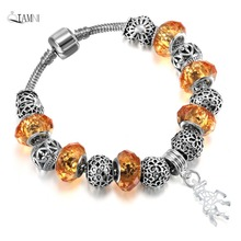 QIAMNI DIY Jewelry Flower Beads Orange Glass Unicorn Pendant Snake Chain Bracelet Bangles for Women Girl Summer Bohemia Gift(China)