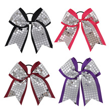 "Boutique 8"" Girl Big Cheerleading Hair Bows Bling Silver Sequin Plaid Cheer Bow With Elastic Bands For Ponytail Accessories(China)"