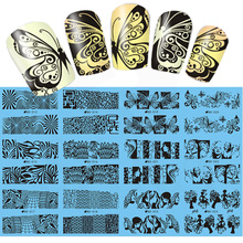 NEW  12Designs in 1  Geometry Nail Water Decals Flowers/Butterfly Design Print Transfer Stickers Nail Art Sticker SABD013-024