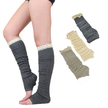 2017 New Women Knit Leg Warmer Step On Foot Boot Cuffs With Lace Ruffled Long Knitted Leg Warmer Cotton Solid Gaiters Socks