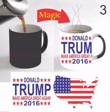 Donald Trump mugs 2016 Make America Great Again Color Change Magic mug heat changing color cups heat reveal tea cup coffee cups