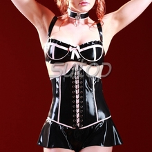 Buy Suitop black latex rubber corset pink trim ladies