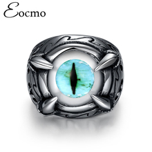 Eocmo Men Vintage Rock Dragon Claw Blue Evil Eye 316L Stainless Steel Biker Ring Fashion Titanium Jewelry for Men bague antique