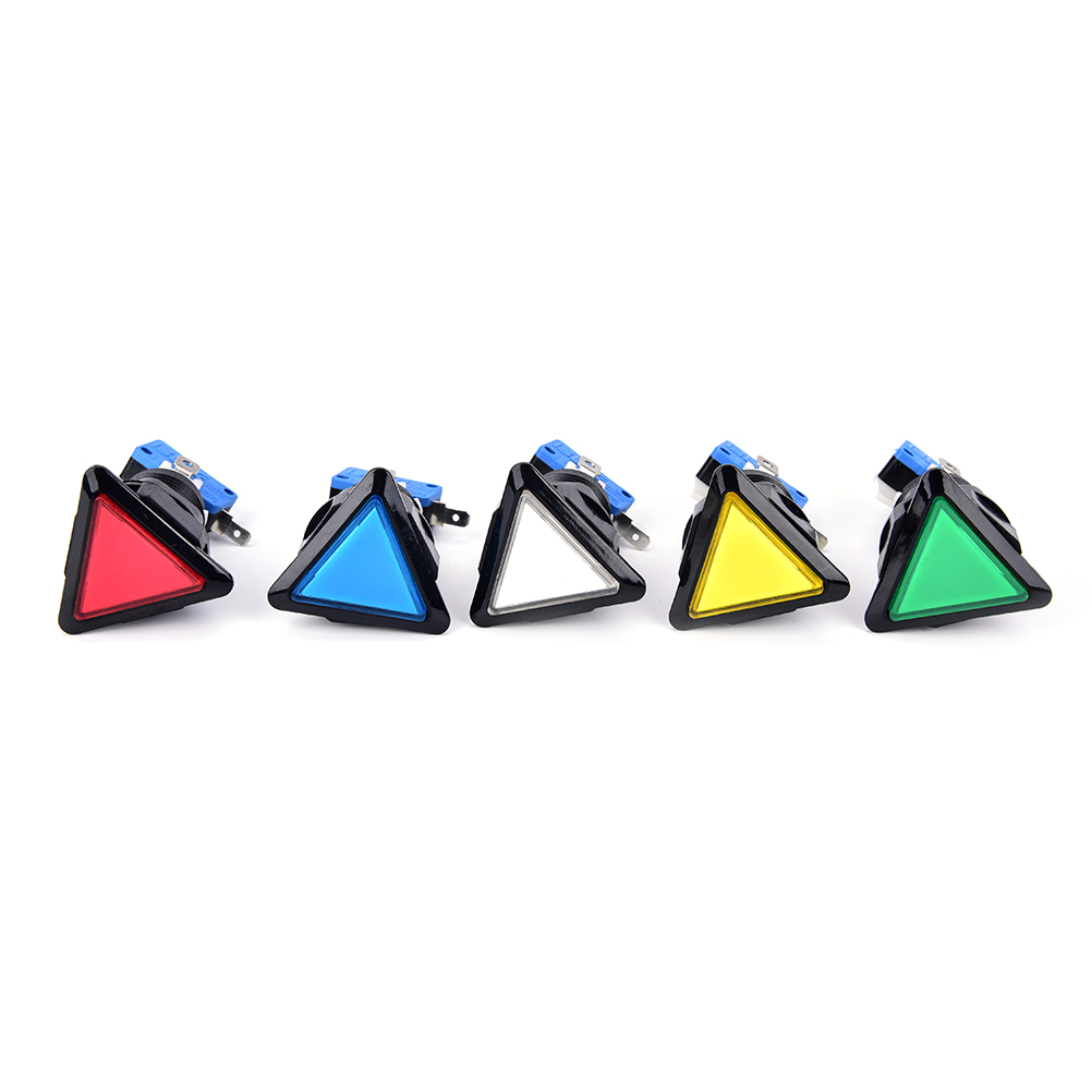 1PCS 12v Triangle LED Arcade Push Button with microswitch black circle illuminated 5 Colors Drop shipping