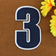 retail ~ 1pcs Footballer Polo Shirt No.3 Number Badge Patches iron on Fabrics Clothes bag Appliques DIY accessory(China)