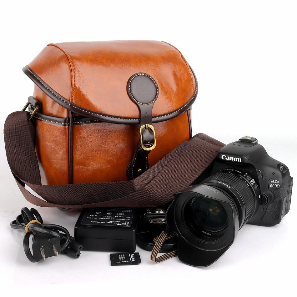 Cámara Réflex Digital Cuero PU Bolso d para Canon EOS M50 M100 200D 80D 77D SONY A5000 NIKON