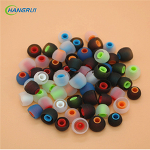 HANGRUI  6pcs/3 Pairs 3.8mm Soft Silicone In-Ear Earphone Covers Dual Color Ear Pads Earbud Tips Ear buds For Earphone