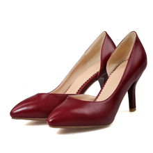 Chinese simple party recreational style sexy pointed toe pumps beige white red black high heels women shoes big size 21.5~26.5cm