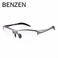 BENZEN Aluminum Magnesium Men Glasses Frame Metal Half Frame Eyeglasses Male Computer Optical Spectacles With Case 5051
