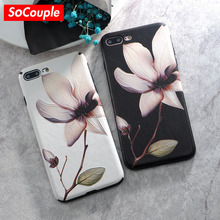 SoCouple luxury Plating TPU Silicone Mobile Phone Case For iphone 6 6s plus Flower Pattern Leather Cover For iphone 7 8 7/8Plus(China)