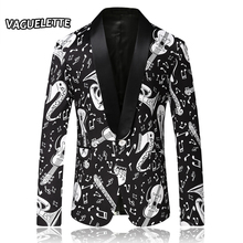 Fashion Stylish Blazers Men Slim Fit Printed  Musical Note Patterns Stage Clothes For Singer Wear Men Suit Jacket M-4XL