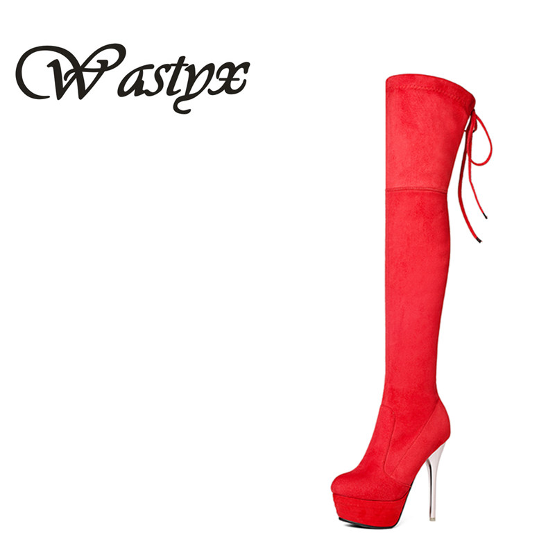 Wastyx 2017 new over the kenn boots sexy super high heels women boots fashion thin heels shoes woman winter warm footwear 34-43 <br>