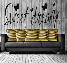 PVC Removable Stickers Decal Sweet Dreams Bedroom Home Decor 4 Butterfly Wallstickers Wall Sticker Home Decals Accessories(China)