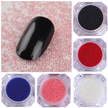 1 Box Clear Caviar Nail Art Beads Colorful 3D Glass Nail Rhinestones Manicure Nail Art Decorations 12 Colors(China)