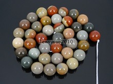 Natural Polychrome Jas-per 10mm Gems Stones Round Ball Loose Spacer Beads 15'' 5 Strands/ Pack(China)
