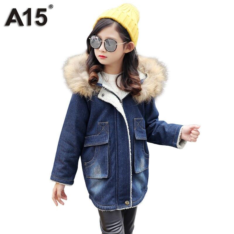 A15 Winter Jackets Girl Coats with Fur Hood 2017 Toddler Girl Outerwear Warm Trench Teenage Kids Fleece Denim Jean Coat 10 12 14<br>