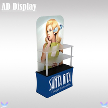 Trade Show Booth Tension Fabric Backwall Display Rack With Double Side Banner Printing,Exhibition Durable Promotional Table(China)