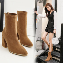 2017 Autumn Winter Women Ankle Boots Suede Leather Zipper Closure Fashion Boots Chunky Square High Heels Shoes Woman Botas Mujer