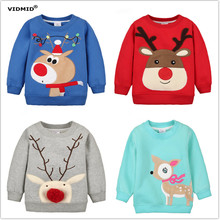 1-5Y Children Hoodies Girls Red Christmas Reindeer fleece thick Hoodie Boy Baby Thick Sweatshirts Kid's Cartoon Sweater 1014 03(China)