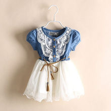 Summer 2016 Children Princess Baby Girls Party Lace Flower Tulle Denim Patchwork Dress Casual Dresses(China)