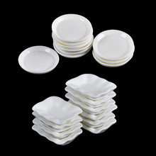 10PCS Dollhouse Miniature Trays Plates Doll Mini Food White Dishes Tableware Kitchen Toys Doll House Accessories(China)