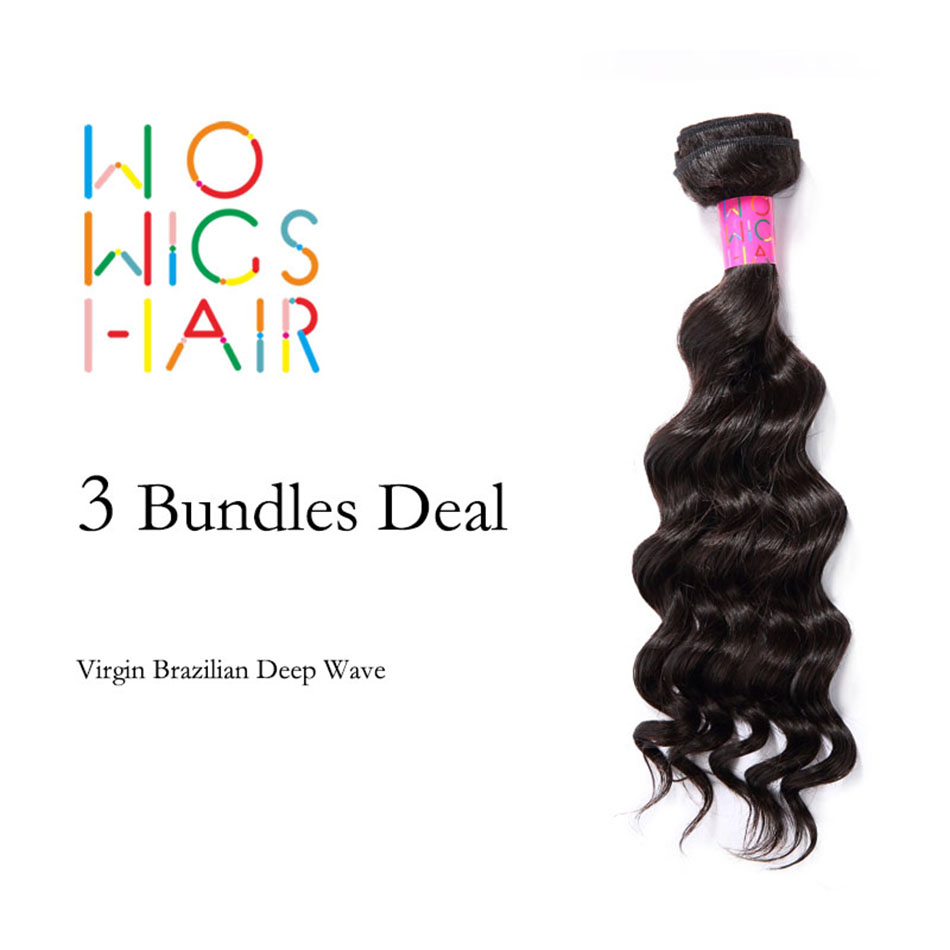Super Deal WoWigs Hair Virgin Brazilian Deep Wave 3 Bundles Deal Natural 1B Color<br><br>Aliexpress